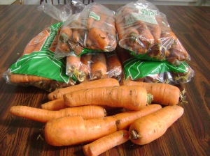 Carrots with blemishes