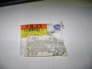 Discount label from beef roast