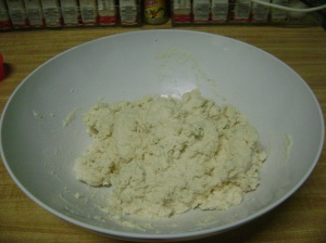 Put flour/butter mix into a bowl and add milk.  Mix with a fork until all the milk is absorbed.