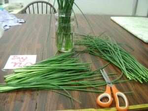 Triple washed wild chives being cut into tiny pieces